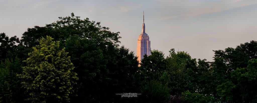 Empire State Building derrière les arbres
