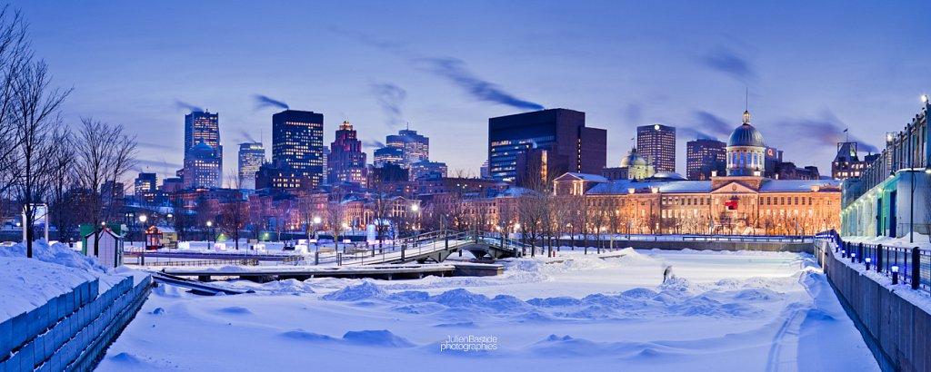 Bassin Bonsecours à Montréal en hiver